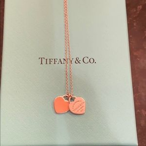 Return to Tiffany mini double heart tag necklace